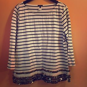 J.Crew Collection Striped Top with Beading - L